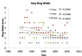 Figure 1: raw ring width by year for trees at 2-year, 4-year and 20-year burn regimes.